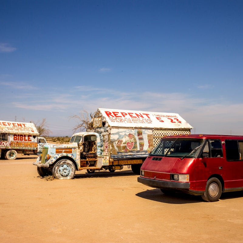 Here we stopped near the Salton Sea. This is the only time the Vixen wasn't the most unusual vehicle around.