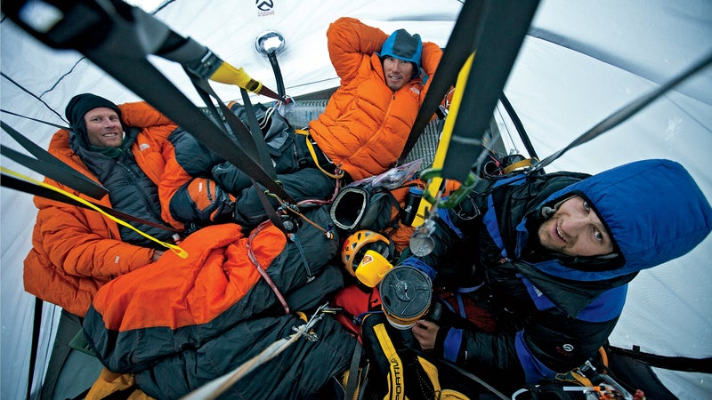 From left: Anker, Chin, and Ozturk resting before their final summit push in 2011.
