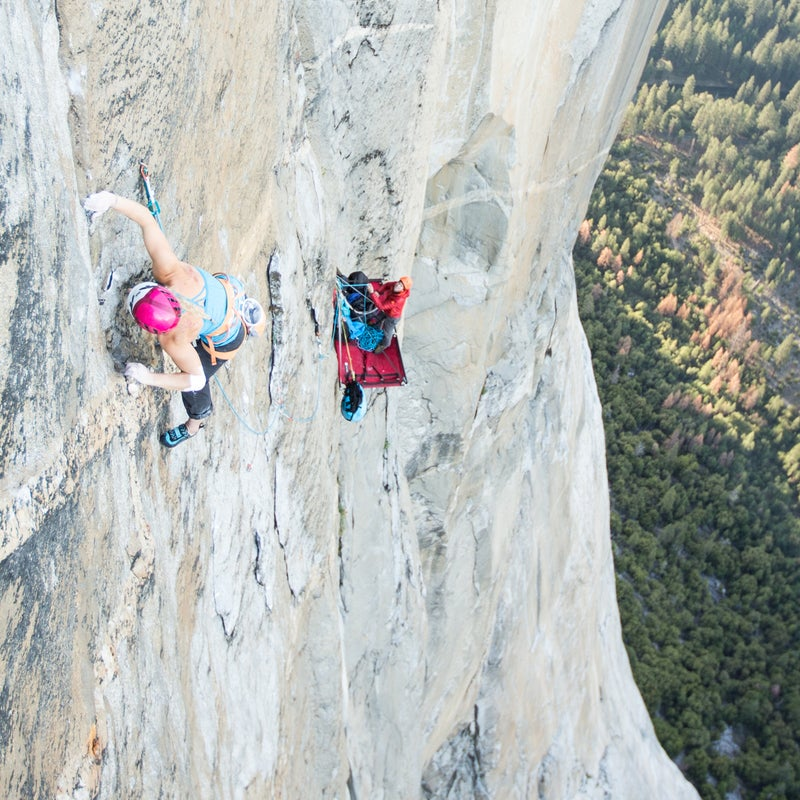 """The list of Emily Harrington's climbing achievements is long. She was the second American woman to complete a 5.14b graded route and has summited Everest, but her latest project on the granite walls of Yosemite's El Capitan may take the top spot. For six days this spring, Harrington free-climbed—using ropes only to catch falls—up 40 pitches of El Capitan's Golden Gate route before reaching the top on May 31. With the support of her boyfriend and mountain guide Adrian Balligner, in addition to a photo and video team of Jon Glassberg and Walker Emerson, Harrington completed one of the more impressive free climbs in women's rock climbing history. Here, Harrington walks us through her route and life on the big wall.  Harrington: At the crux of """"The Move,"""" which is the first 5.13 pitch on Golden Gate and a couple days into the climb. It requires a stressful few moves involving holding two tiny opposing holds and pulling out on them. The movement reminded me of trying to pull apart two elevator doors and took me several dozen tries to do successfully."""