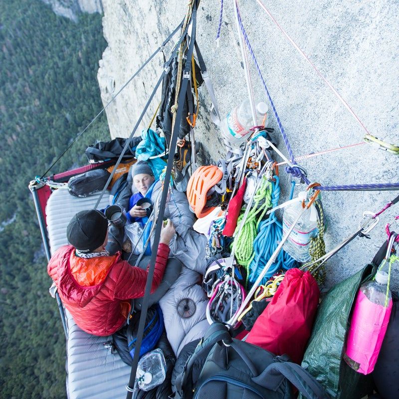 Ledge life!!  Morning coffee on day four. Living in the vertical world for six days requires careful planning, organization, and diligence. It took us a few tries to figure out how to set up our ledge, organize all our gear, and just get comfortable surviving 2,000 feet off the ground.