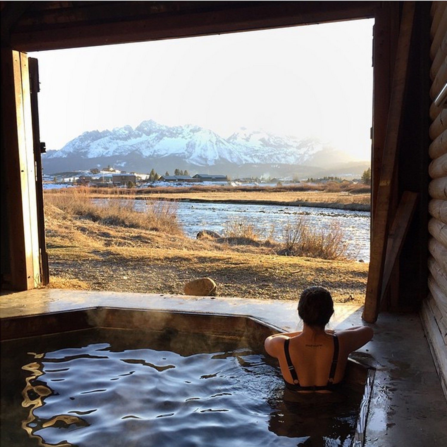 Step into early spring and a little geothermal healing with the @bontraveler #visitsunvalley #seeksunvalley #stanleyidaho #hotsprings #prunedtoes