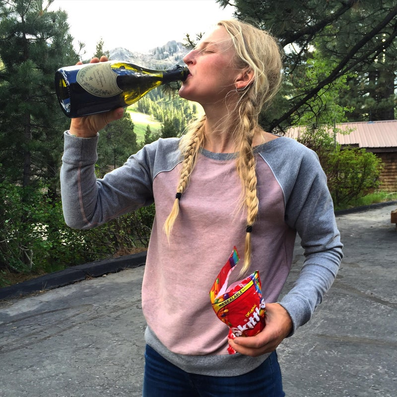 The best way to celebrate a free-ascent of El Cap? Champagne and skittles!