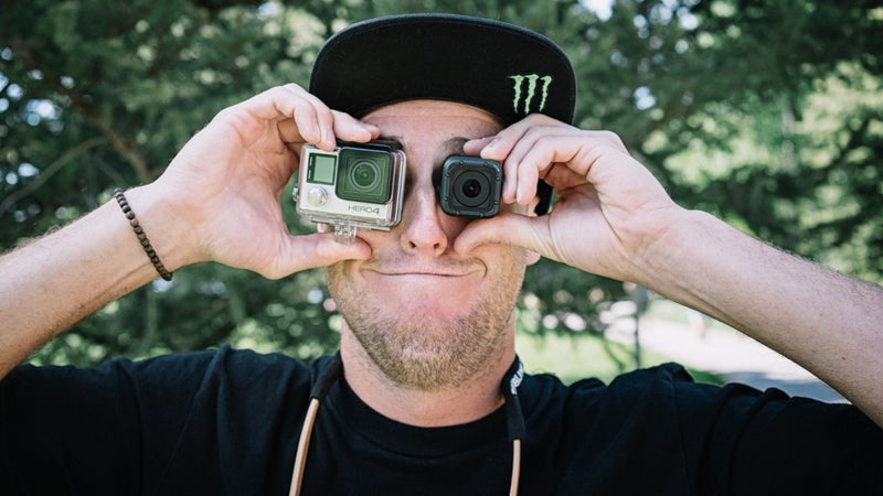 GoPro athlete and X Games gold medalist Tom Wallisch shows off a Hero Black and Hero4 Session.