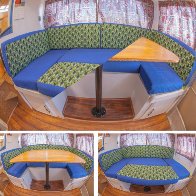 The dining room got a major upgrade. I reupholstered the cushions, made a new tabletop, and added a flush-mount removable table. This also converts into a second bed for guests.