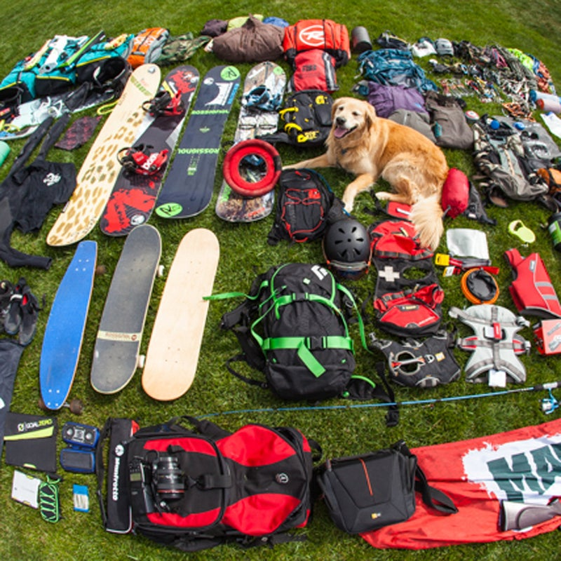 Kites, speakers, BB guns, climbing gear, flashlights, headlamps, a tent, chairs, a table, skateboard, longboard, snowboard, spiltboard, kite board, wetsuits, surfboard, flags, sunglasses, fishing pole, backpacks, protein…You get the idea. All this packed into a space smaller than 100 square feet.