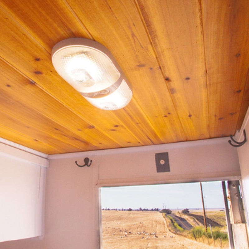 LEDs require very little electricity but easily light the camper. I recommend buying them online and not from an RV store, where they can be up to ten times more expensive. I like Gold Star LEDs: the color is more natural than that of some of its competitors.
