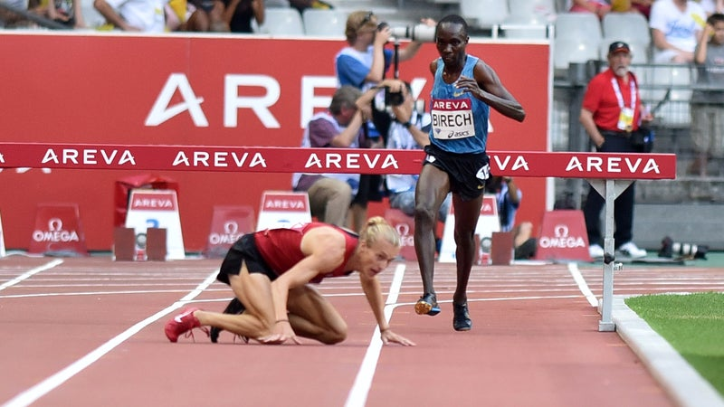 Jairus Kipchoge Birech and Evan Jager during the Men's 3000m Steeplechase race at the IAAF Diamond League Areva Athletics meeting on July 4.