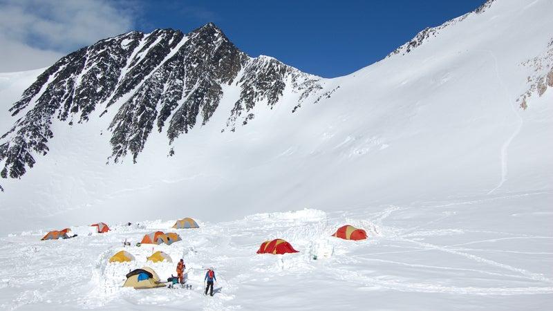 The team sets up camp on Denali.
