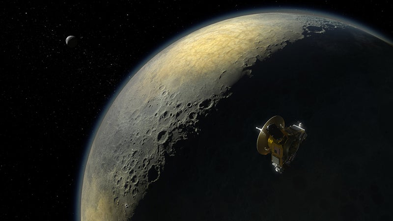 Concept art for the New Horizons flyby.