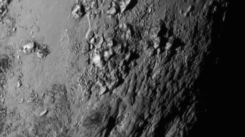 Close-up imagery, captured July 14, of icy mountains near Pluto's equator.