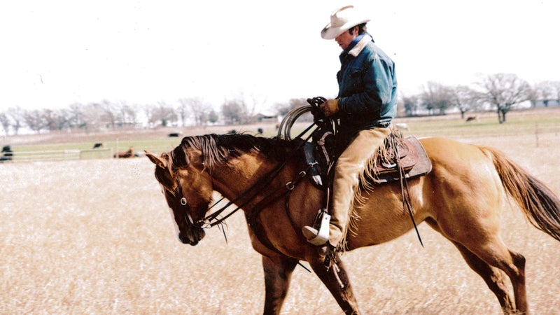 Author Will Grant on his mare Dunny near Bowie, Texas.