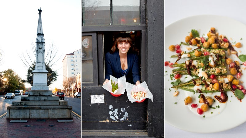 From left: Downtown Athens; White Tiger's to-go window; charred okra and chickpeas at the National.