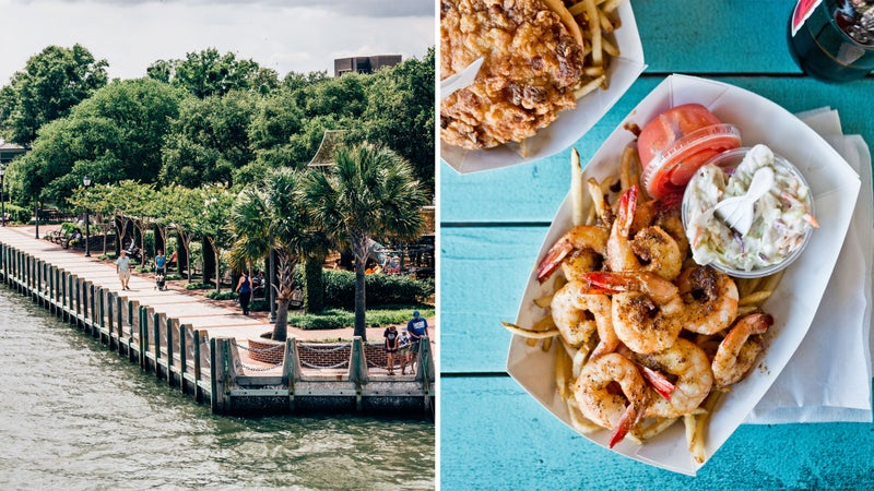 From left: Beaufort waterfront; Beaufort food groups.