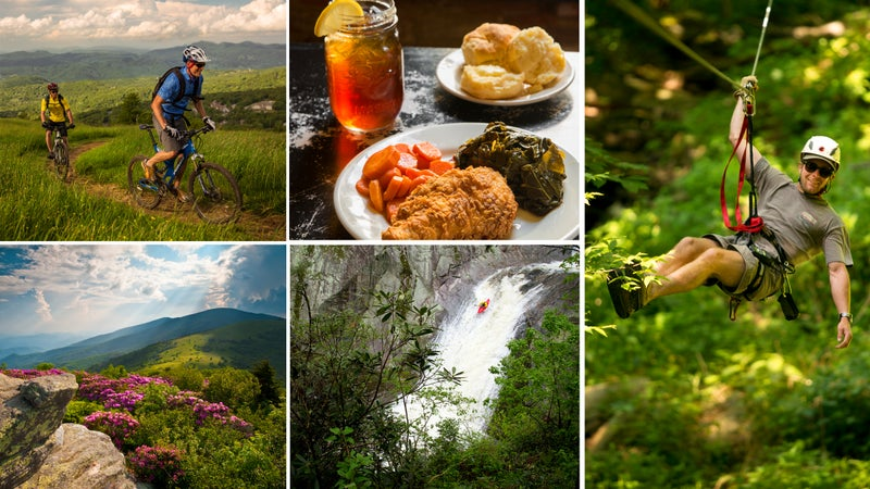 Clockwise from top left: Climbing Beech Mountain; Boone delicacies; zip line; sending near Boone; the Appalachian Trail.