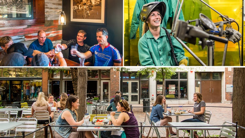 Clockwise from top left: Post-ride happy hour; a bike-building class at the University of Iowa; Iowa City brunch.