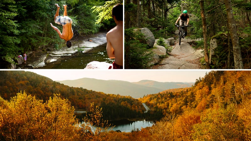 Clockwise from top left: Kodak courage on the New Haven River; Green Mountain rock garden; New England autumn.