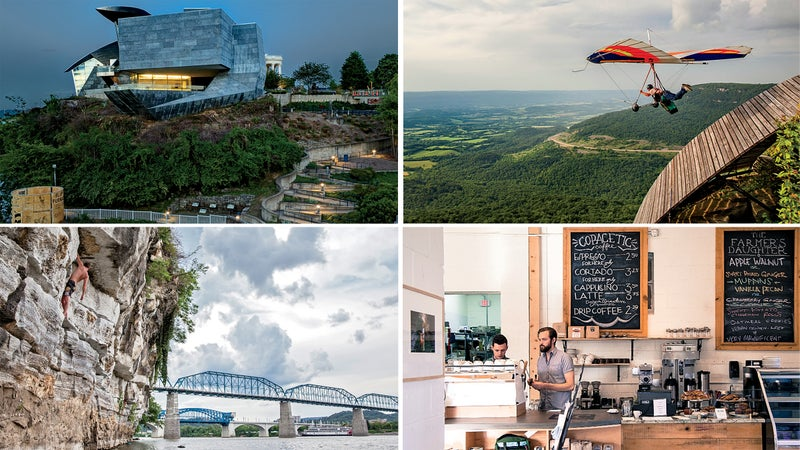 Clockwise from top left: Hunter Museum of American Art; in flight over Chattanooga; The Farmer's Daughter; deepwater solo near downtown.