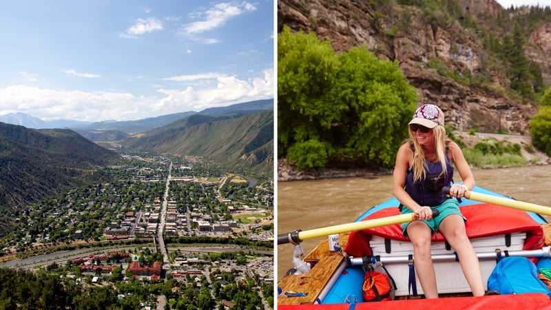 From left: A bluebird day downtown; rowing the Colorado River.
