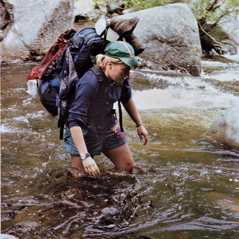 Molly crossing a stream.