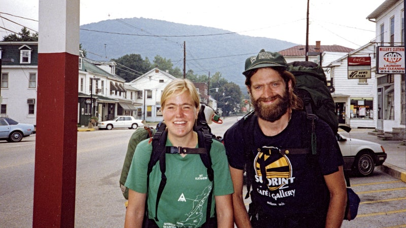 Molly LaRue and Geoff Hood in Duncannon, Pennsylvania, on September 12, 1990, with Cove Mountain in the background.