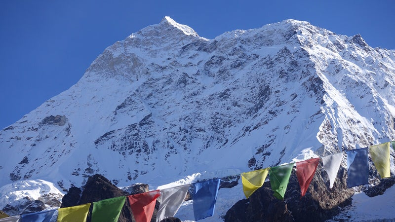 """The crew's """"intimidating"""" view of Makalu from base camp."""