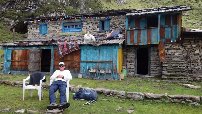 Jim Morrison enjoying a break at 14,800 feet, a day's walk from base camp.
