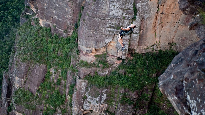 Doing a double gainer off a cliff in the Blue Mountains, March 2010