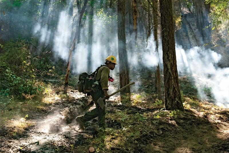 Daniel Guerrero working California's Stafford Fire.