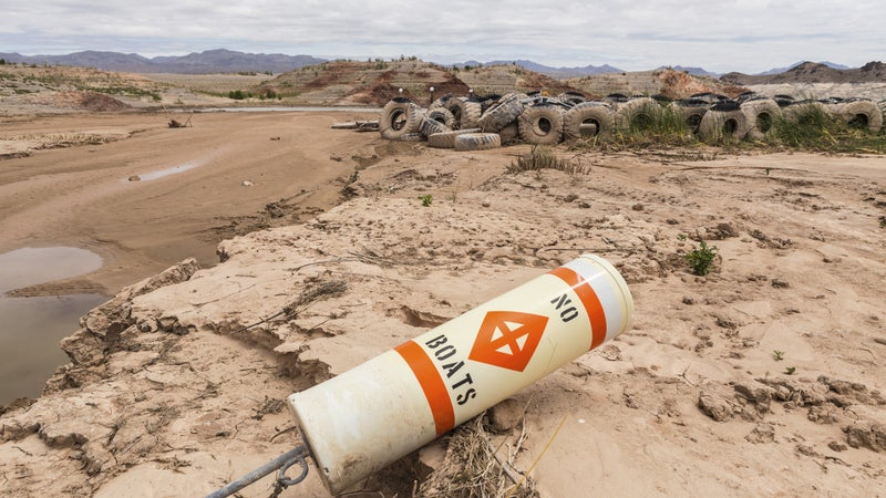 Historic low lake levels at Lake Mead's Echo Bay in Southern Nevada.