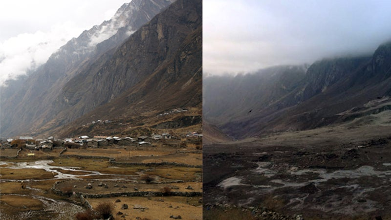 A before and after the earthquake comparison from the Langtang valley.