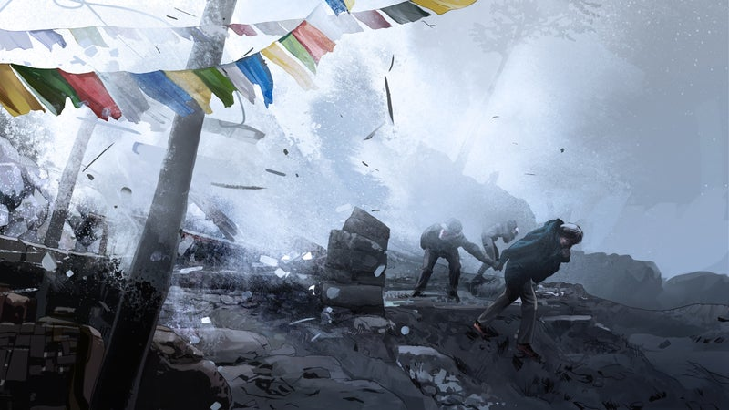 This scene is based on earthquake footage taken in Langtang Valley by American trekker Corey Ascolani.