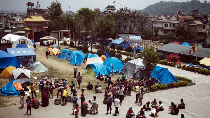 Langtang survivors congregate in a small tent city on the western edge of Kathmandu.