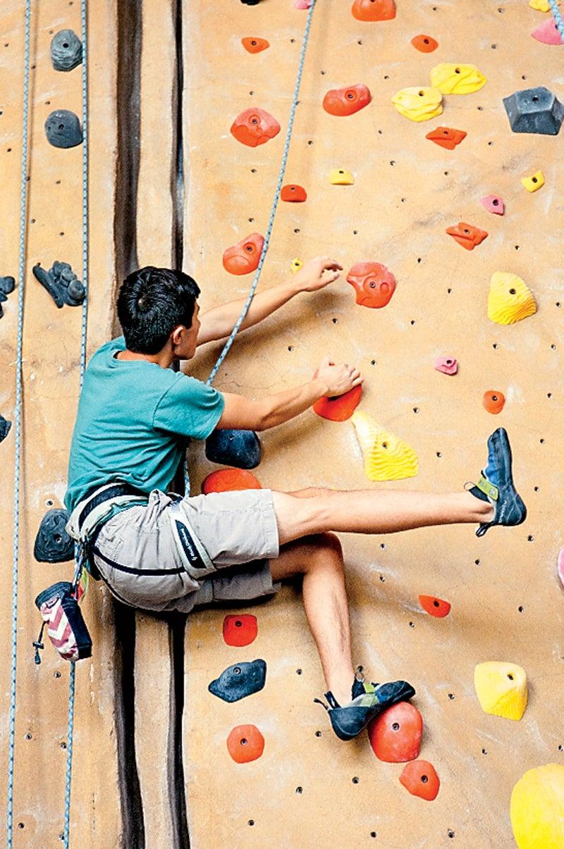 A climber at Planet Granite.