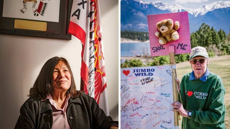 Left: Chief of the Ktunaxa, Kathryn Teneese of Cranbrook. Right: Jim Galloway of Brisco.