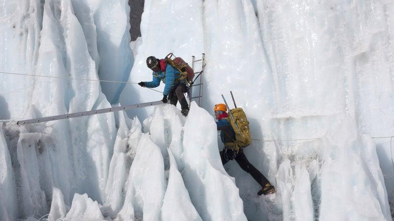 Sherpas training in the Khumbu Icefall.
