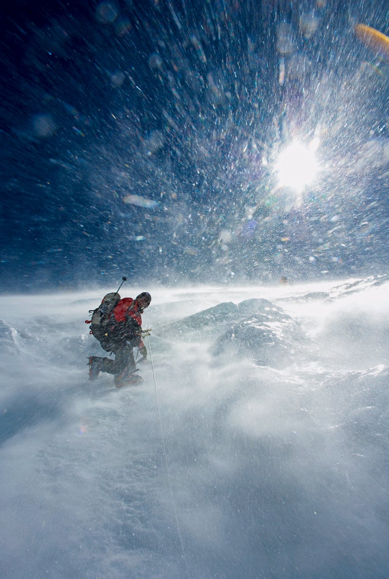 Rob climbs toward Camp III in a shower of spindrift on the central part of the Lhotse Face on October 6, 2006.
