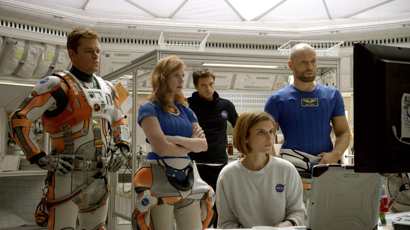 From left: Matt Damon, Jessica Chastain, Sebastian Stan, Kate Mara, and Aksel Hennie portray the crewmembers on a mission to Mars.