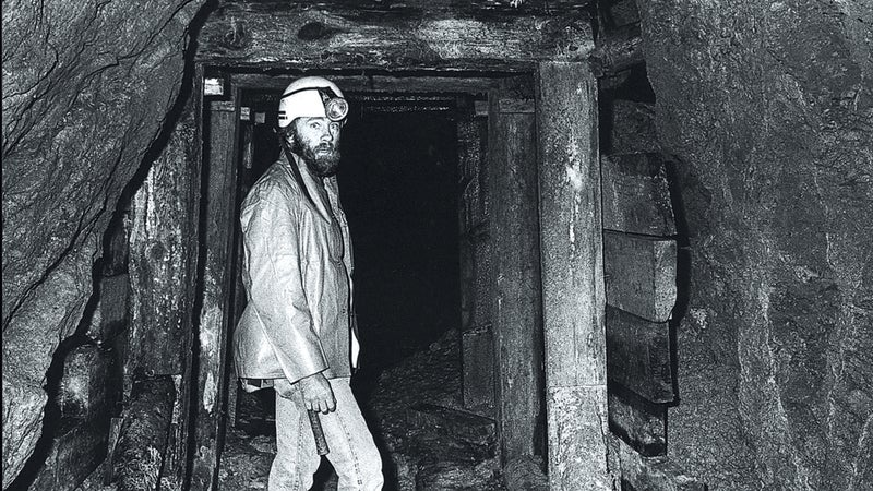 Blanning in 1982 leading a tour of Aspen's Durant Mine.
