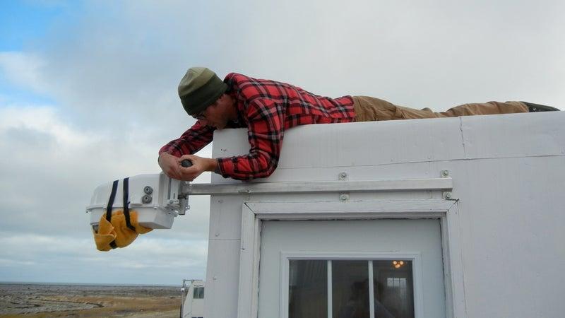 Installing a polar bear camera.