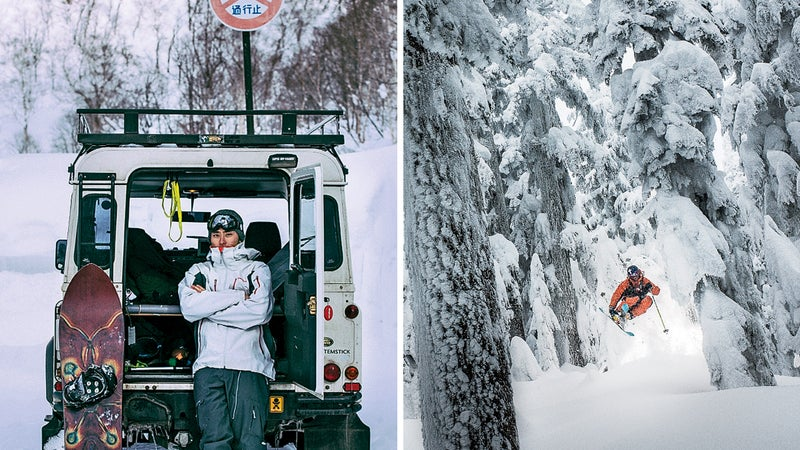 From left: Tight trees in Whistler; Another deep day in Niseko.