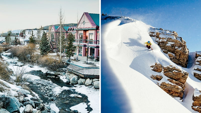 From left: Downtown Breckenridge; Snowbird freshies.