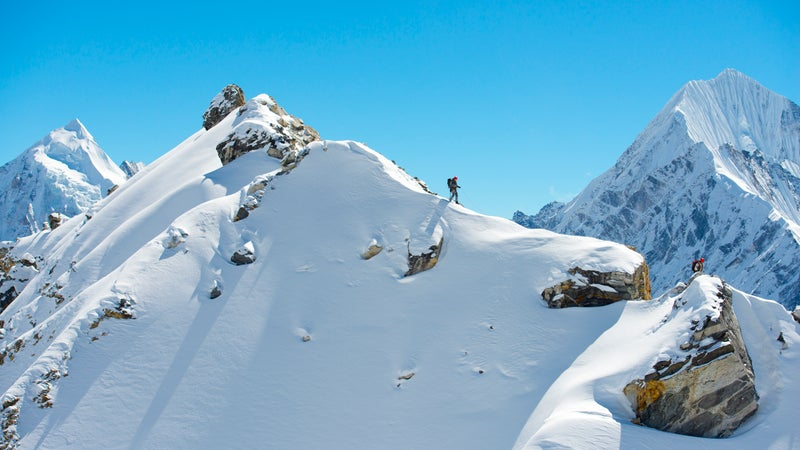 Ozturk and Anker on a high ridge in the Langtang Valley.