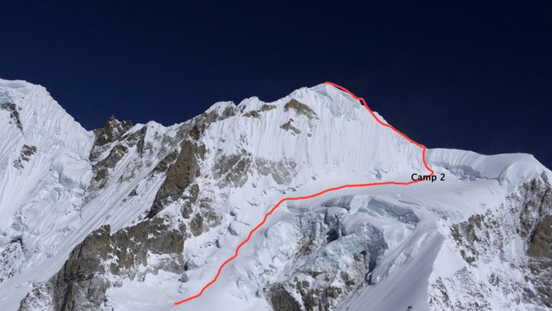 The bottleneck from Camp 2 to the summit of Burke Khang.