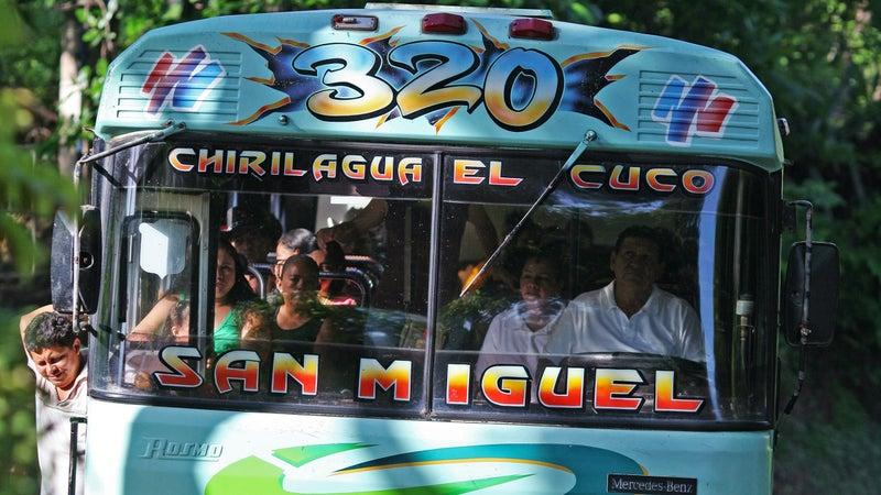 Local bus servicing unsealed coastal road between El Cuco and Punta Mango.