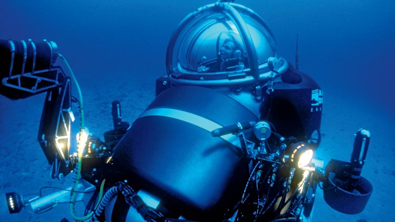 Piloting a submersible up from a 1,200-foot dive off the coast of Lanai in 2000.