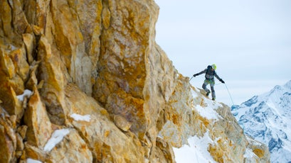 David Göttler taking it pitch by pitch in the Langtang Valley.