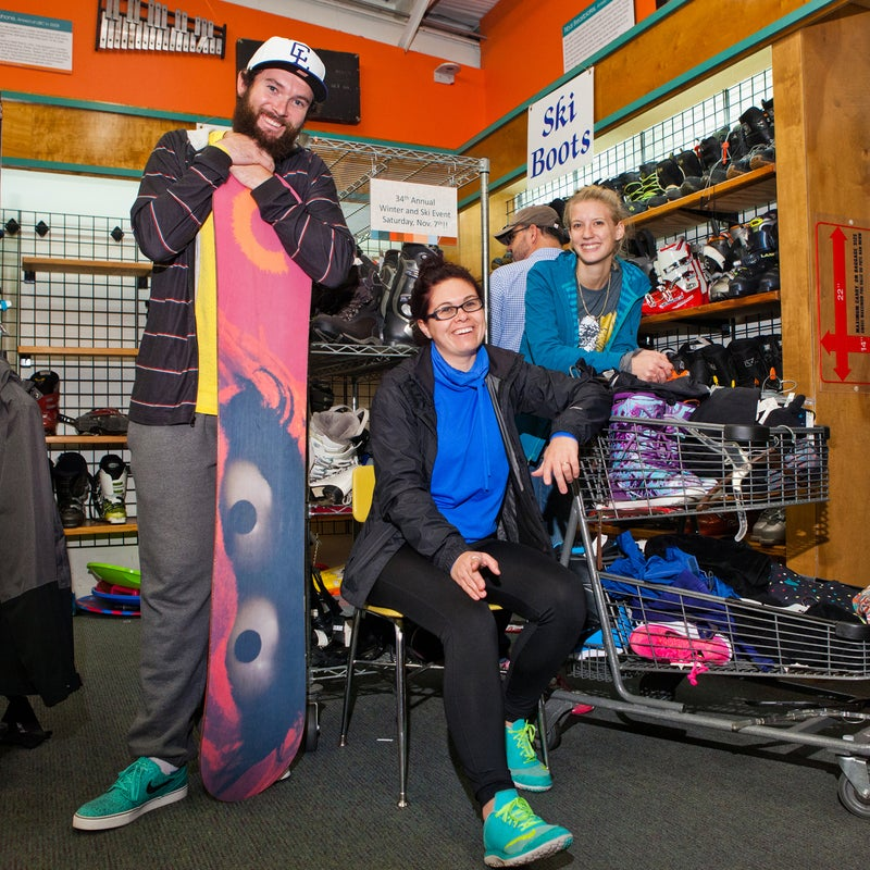 From left: Friends Thomas DeGenaro and Ashley Thomas, of Pikeville, Tennessee, and Heather Magee from Chattanooga lined up at 5 a.m. to try and snag the best items.