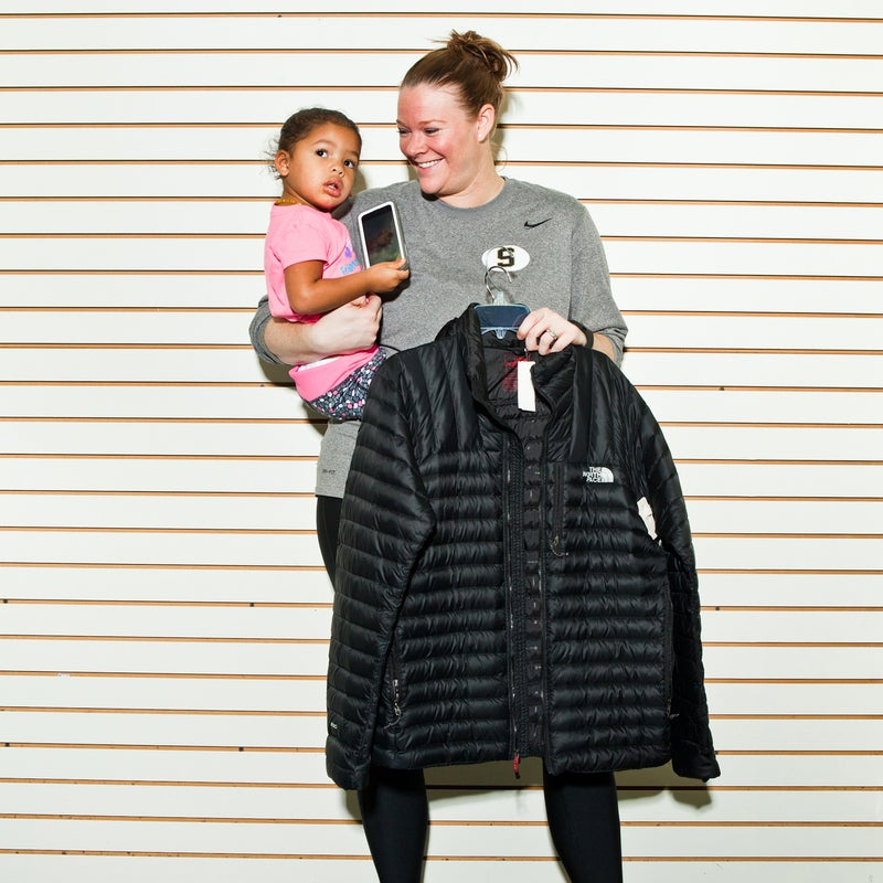 Kelly Scott and her daughter Skyler, 2, live in Scottsboro and have been coming to the sale for three years. She walked away with a North Face jacket and a Patagonia vest that were marked down more than 50 percent off what she would have paid at a retail store.