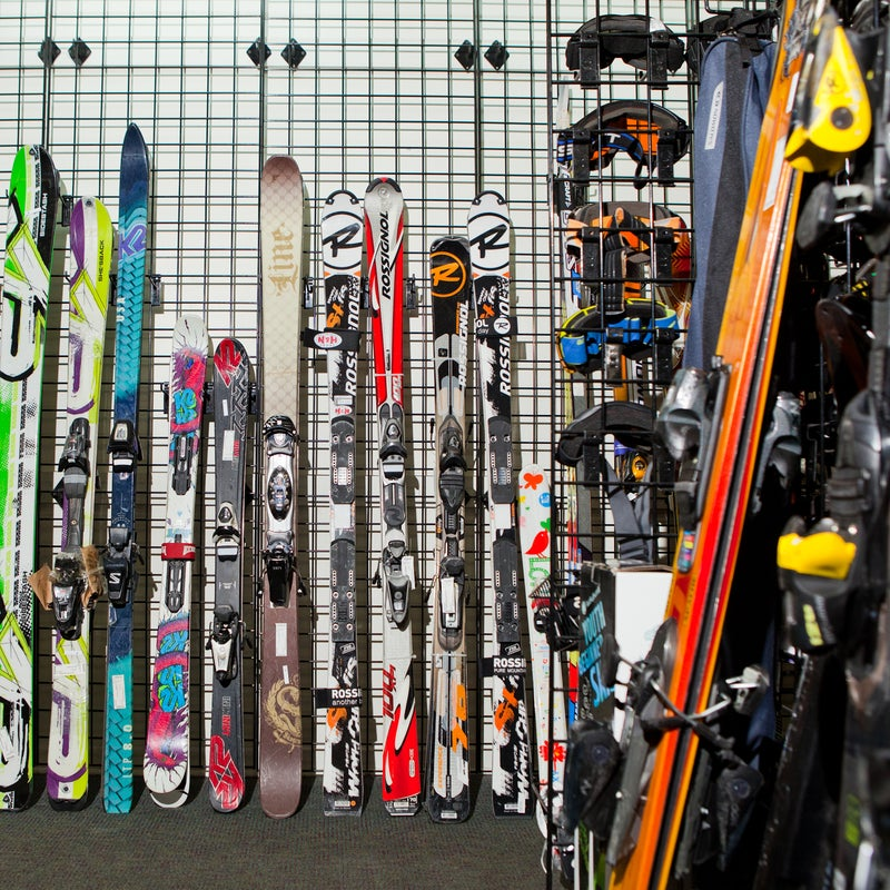 Race skis, powder skis, and old-school relics were all on sale.