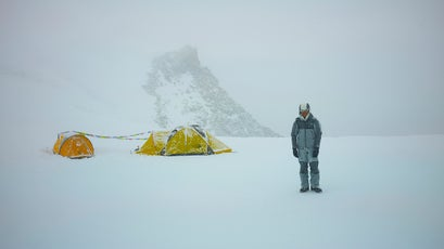 Mingma Sherpa hanging out at our 18,000 foot camp on an unnamed peak in the Lantang Valley.